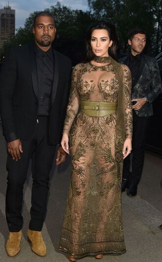 dress kim kardashian kardashians lace dress olive green kanye west sandals see through see through dress gown prom dress