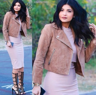 dress jacket high heels nude black kylie jenner shoes suede jacket black shoes fall outfits bodycon dress nude dress