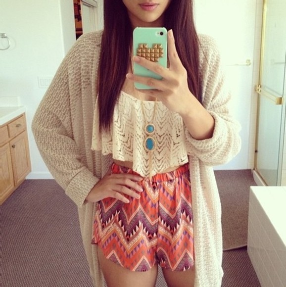 orange shorts shorts pink shorts printed shorts shirt sweater lace crop top purple shorts knit cardigan