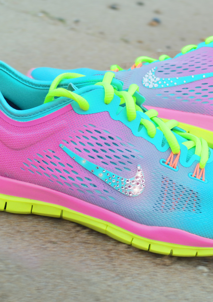 Tropical Twist Pink Glow And Volt Nike Tr 4 Trainers With