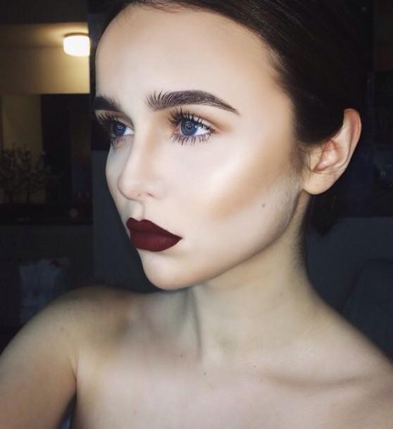 make-up pretty red black make-up cute dress