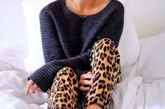 pants leopard print sweater animal print cute soo nice