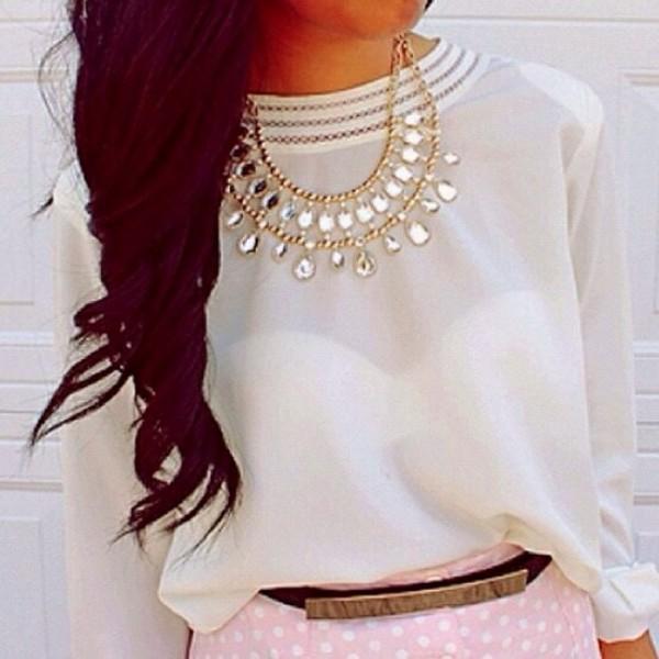 shirt jewels t-shirt blouse girly white
