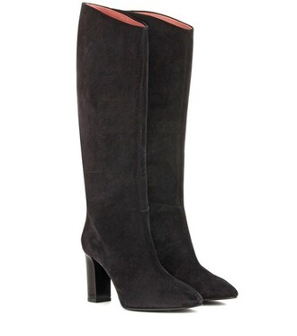 knee-high boots high boots suede black shoes