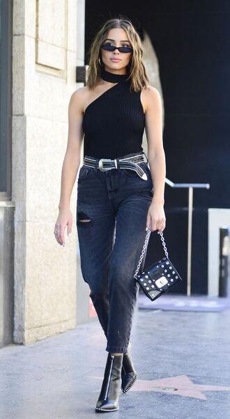 top black black top olivia culpo streetstyle belt denim jeans ankle boots