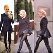 shoes,:-),jacket,gucci,lauren curtis,black,hair,clutch,black jeans,leather pants