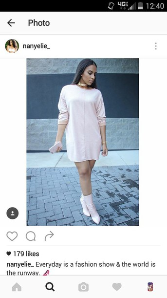 dress pink sweater dress shirt dress cute dress fashion urban