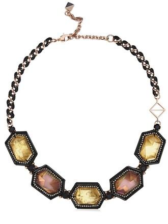 necklace rose gold rose gold black jewels