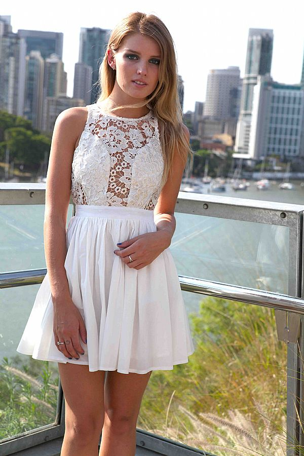 2e89cbc99e9e White Mini Dress - White Sleeveless Skater Dress with