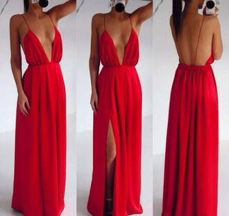 evening clubwear party red dress long dress