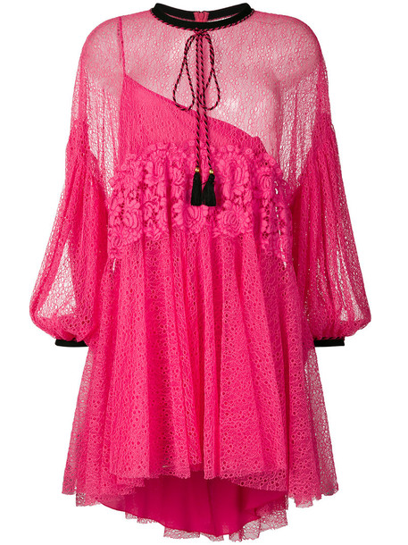 dress lace dress women lace purple pink