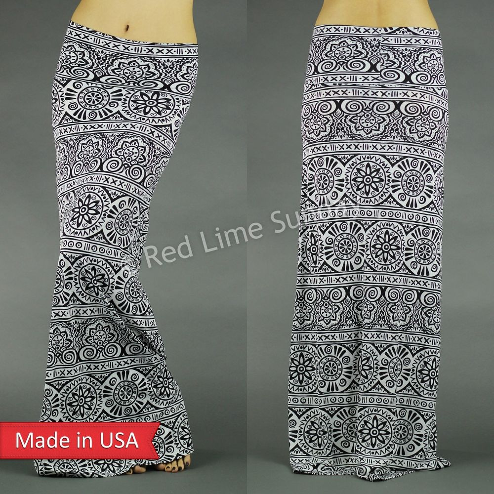 Woman Fashion Black White Ethnic Geometric Tribal Print Fold Over Maxi Skirt USA