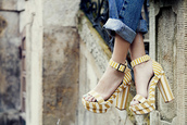 shoes,high heels,stripes,striped shoes,yellow,white,chunky sole,chunky heels,blogger,sandals