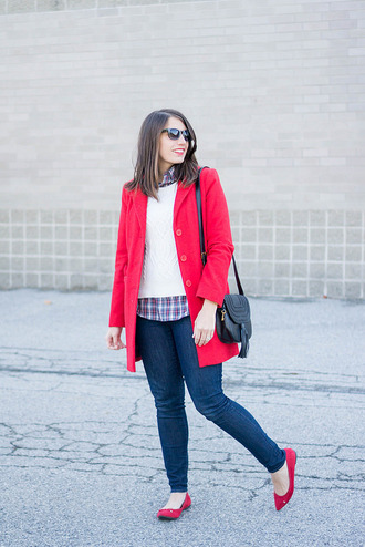 styleontarget blogger sweater sunglasses coat shirt jewels bag red coat shoulder bag winter outfits plaid shirt ballet flats skinny jeans