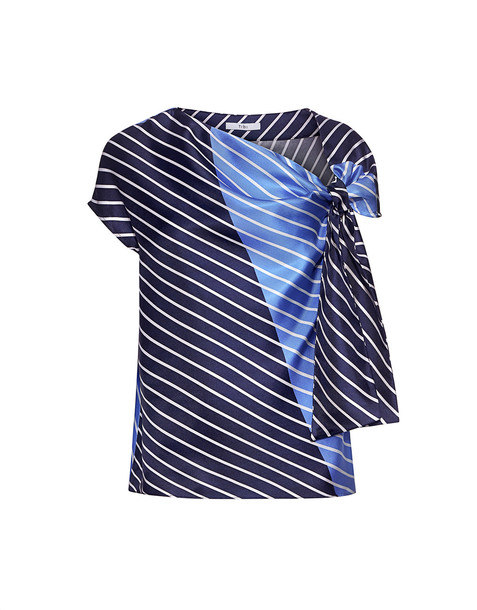 top asymmetrical navy silk