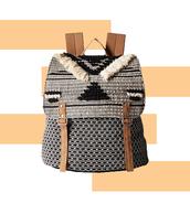 bag,woven backpack,aztec,tribal pattern,backpack