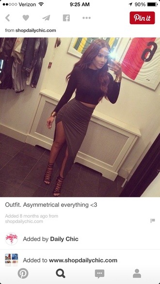 skirt high waisted high slit
