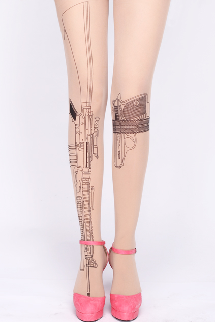 Gun print nude tights, the latest street fashion