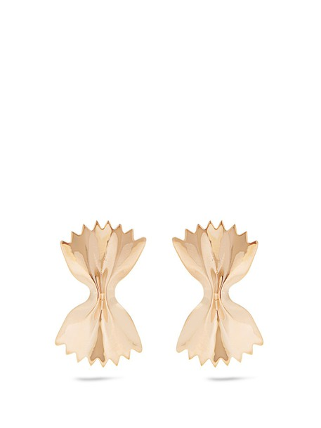 Alison Lou bow earrings gold yellow jewels