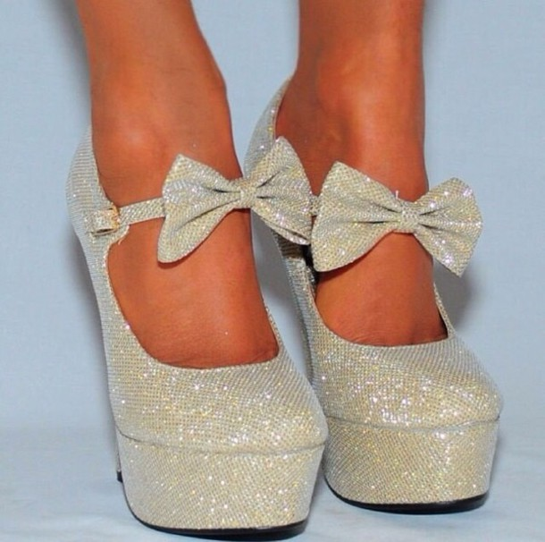 silver glitter heels with bow wwwimgkidcom the image