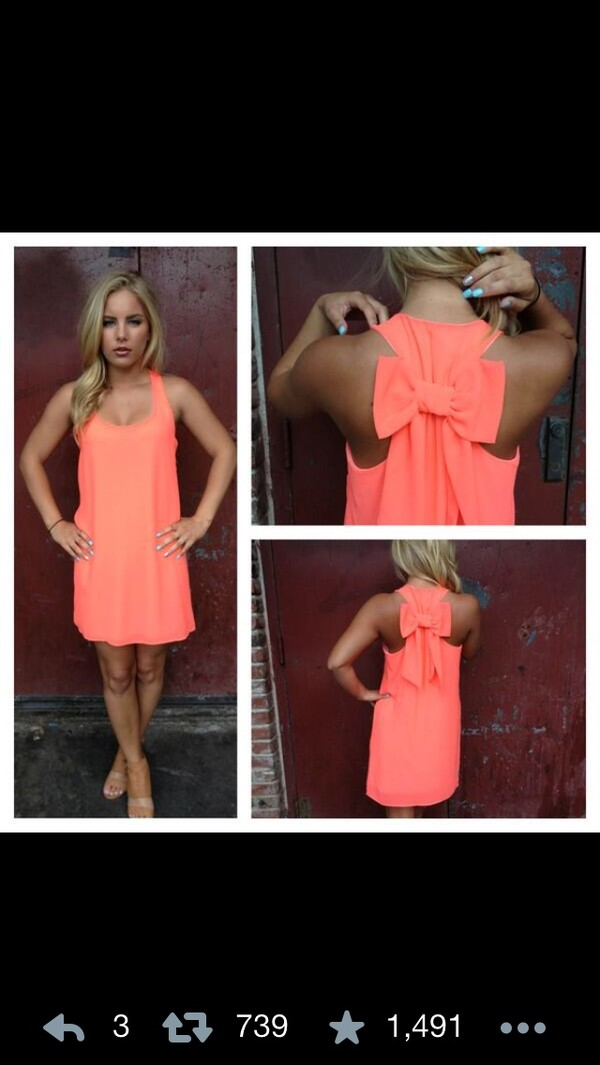 dress coral dress bow coral bow dress bowie sundress
