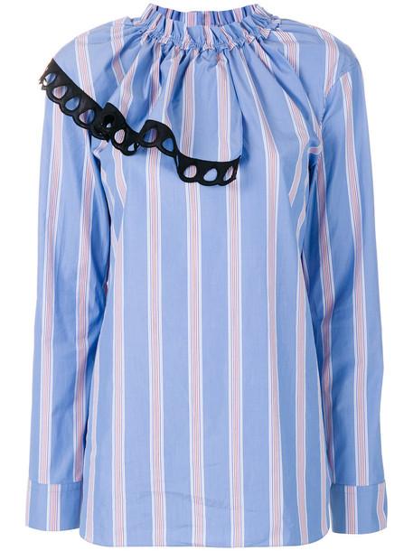 MARNI blouse ruffle women cotton blue top