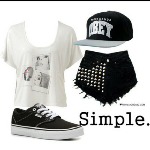 studs obey hat studded shorts vans