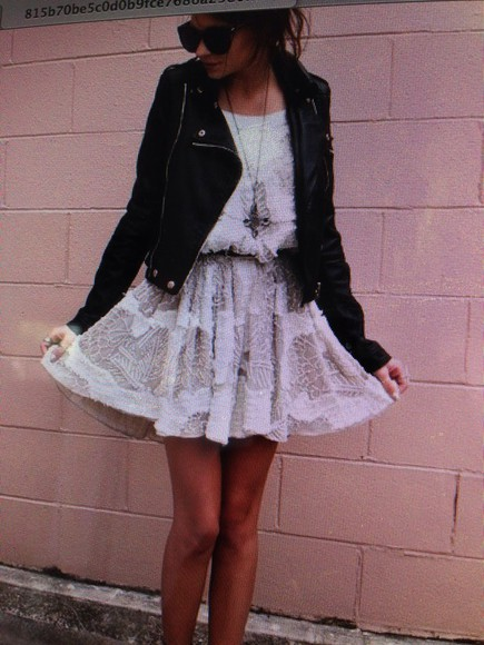 necklace shoes jacket dress brandy melville white dress crochet prettty colorful leather jacket legslit summer dress socks