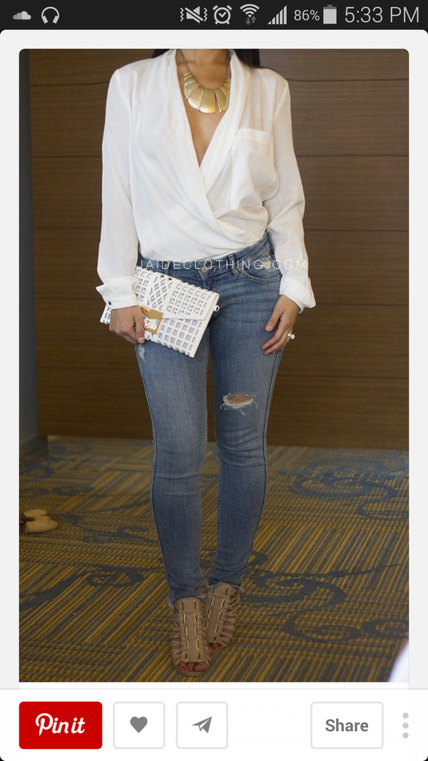 blouse jeans jewels bag top t-shirt