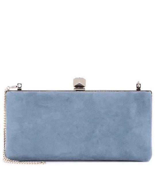 clutch suede blue bag