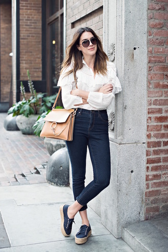 style me grasie blogger top jeans shoes bag sunglasses