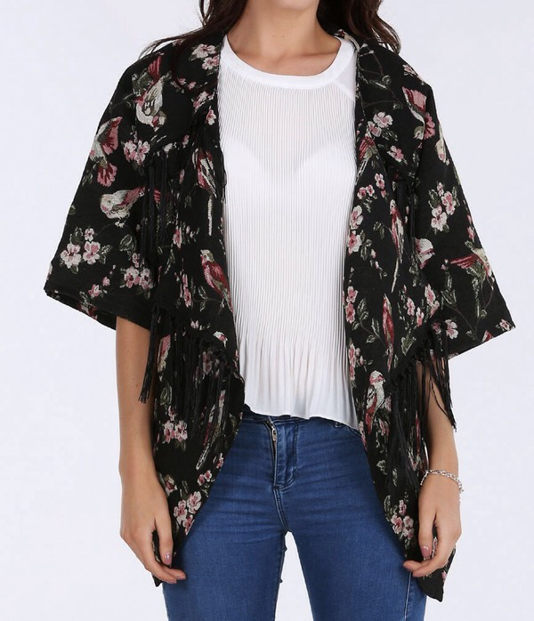 jacket vintage style jacket with  birds & tassels