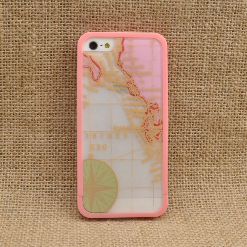 Removable Plastic Protection Case Pink Map for iPhone 5 | eBay