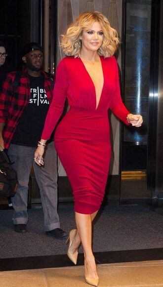 skirt pencil skirt midi skirt khloe kardashian plunge v neck kardashians red pumps top bodysuit