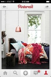 bag,bedding,blue,orange,home accessory,home decor,boho,print,bedroom,copper,metallic lamp,blanket
