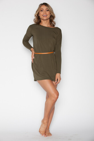 dress tunic long sleeve dress olive green long sleeves hipster