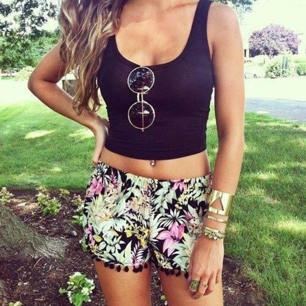 shorts summer cute crop tops floral