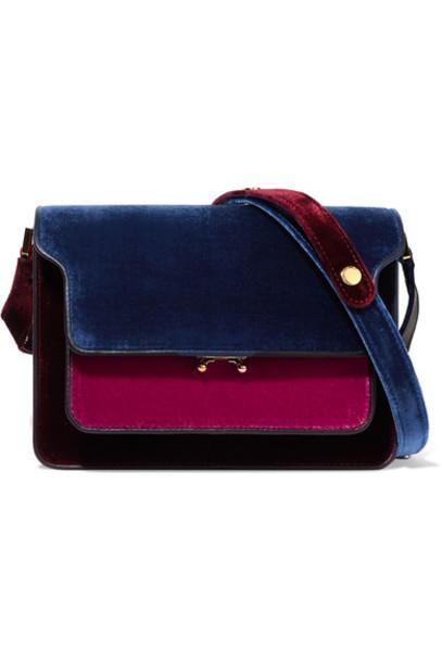 MARNI bag shoulder bag leather blue velvet