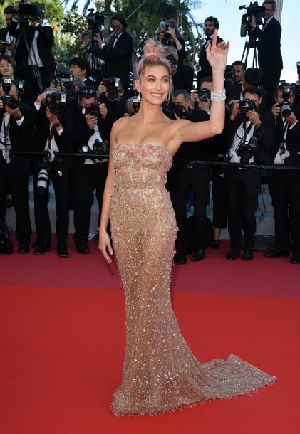 dress gown model cannes long dress long prom dress hailey baldwin red carpet dress red carpet strapless embellished dress embellished sparkle sparkly dress