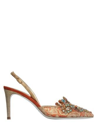 pumps lace orange shoes