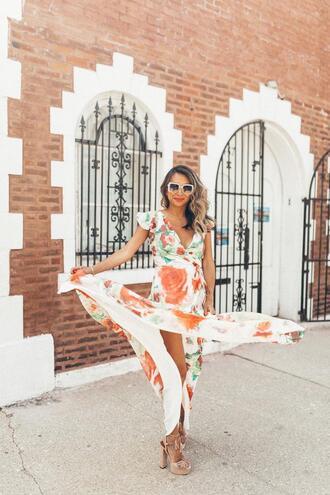 redsolesandredwine blogger dress sunglasses shoes maxi dress summer dress summer outfits printed dress sandals