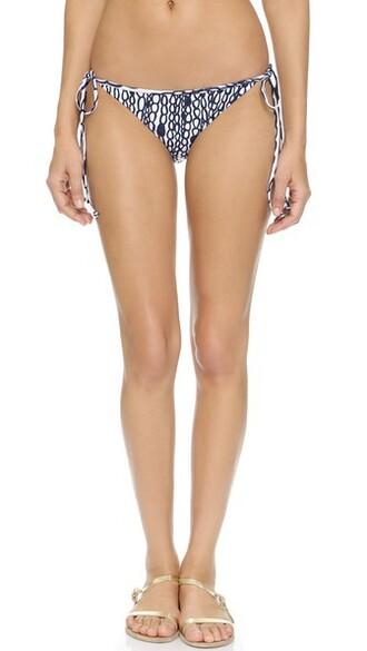 bikini bikini bottoms navy white print swimwear