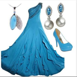 dress long dress gown one shoulder one shoulder dress flowings blue dress earrings drop earrings necklace pendant heels high heels pumps blue pumps clothes outfit