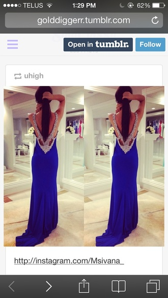 blue silver sparkly low back prom dress royal blue dress