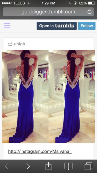 low back prom dress blue silver sparkly royal blue dress