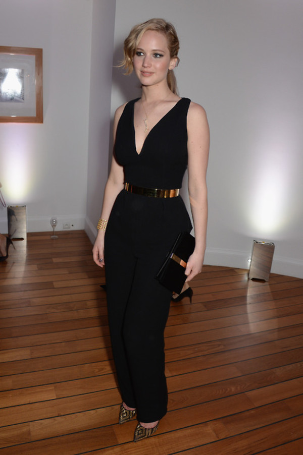 jumpsuit jewels shoes jennifer lawrence