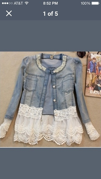 jacket denim lace pearl