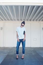 style me grasie,blogger,jeans,top,bag,sunglasses,jewels,shoes