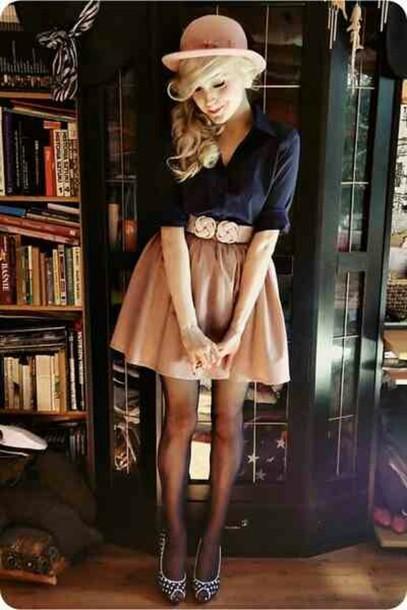 dress pretty navy tan skirt hat belt skirt sassy adorable shirt clothes\ beige blouse shoes socks