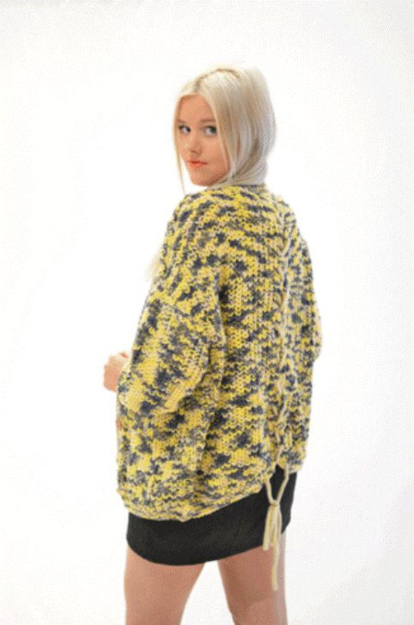 yellow sweater bat wing sleeves cardigan yellow cardigan plait detailing www.ustrendy.com